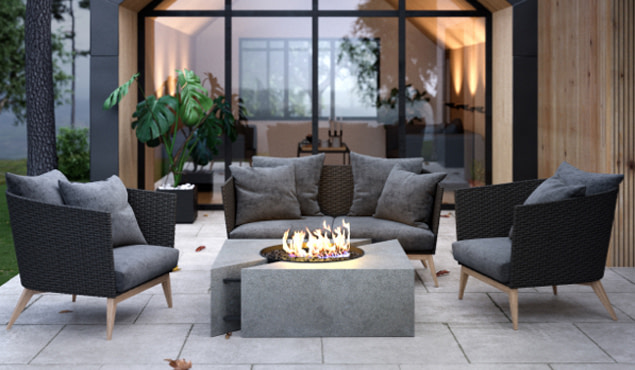 Humdinger 3D realism showing a Nisho fire pit in front of a high-end home.
