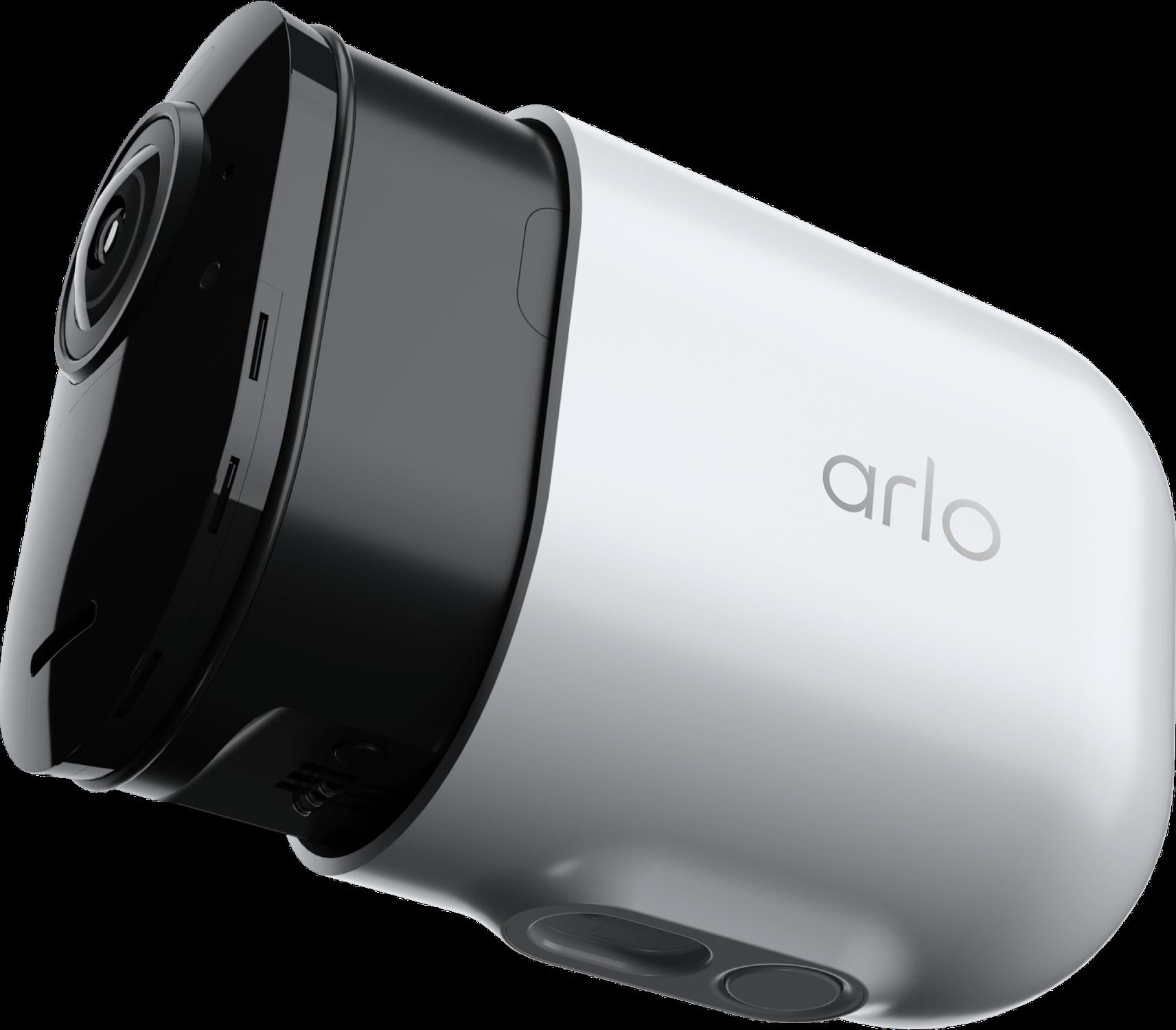 Hyper-realistic 3D render of Arlo security camera.