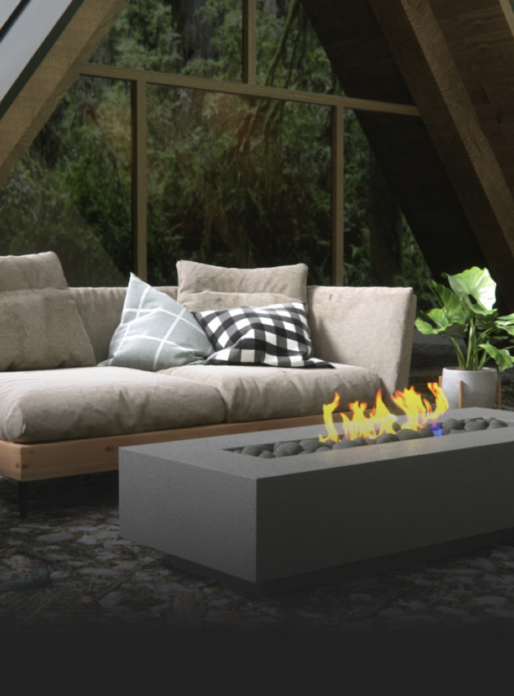 Humdinger 3D realism showing a Nisho fire pit in front of a beautiful cabin home.