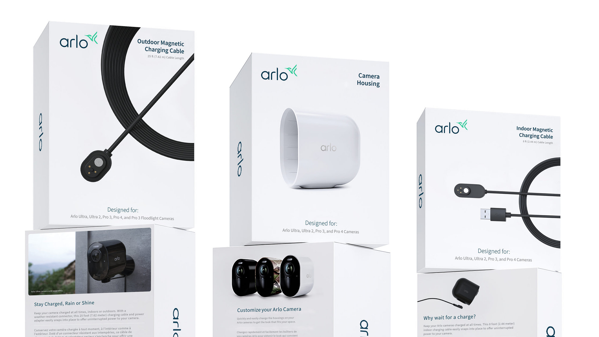 3D design showcasing new Arlo accessory packaging design and Arlo rebrand.