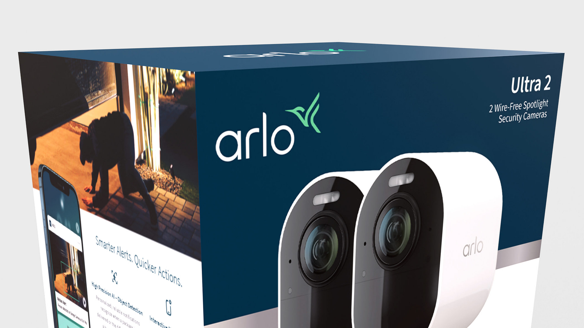 Up close 3D animation of Arlo new branding and new packaging design.