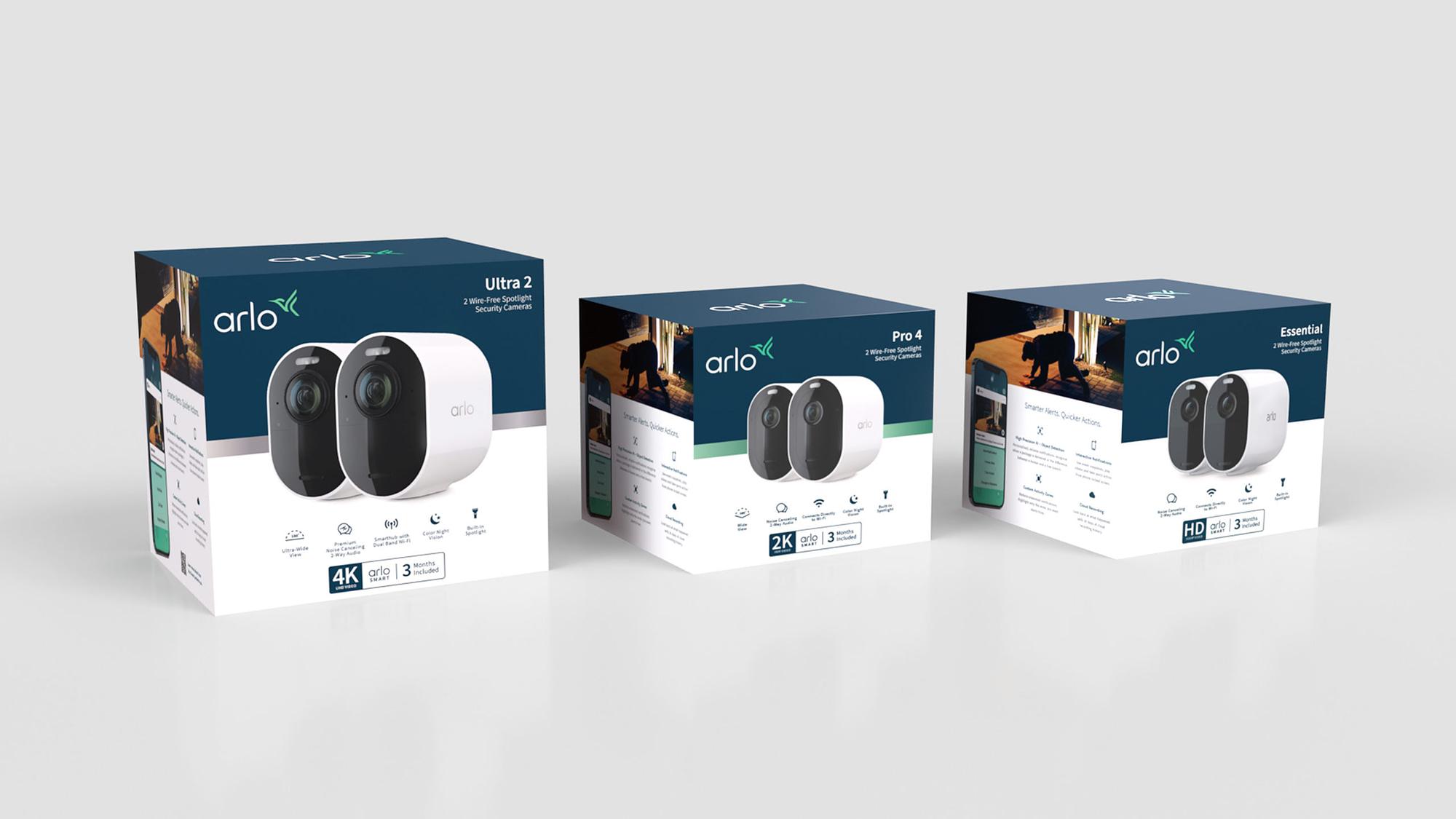 3D render of 3 Arlo security camera boxes, showcasing Arlo rebrand and new packaging design.
